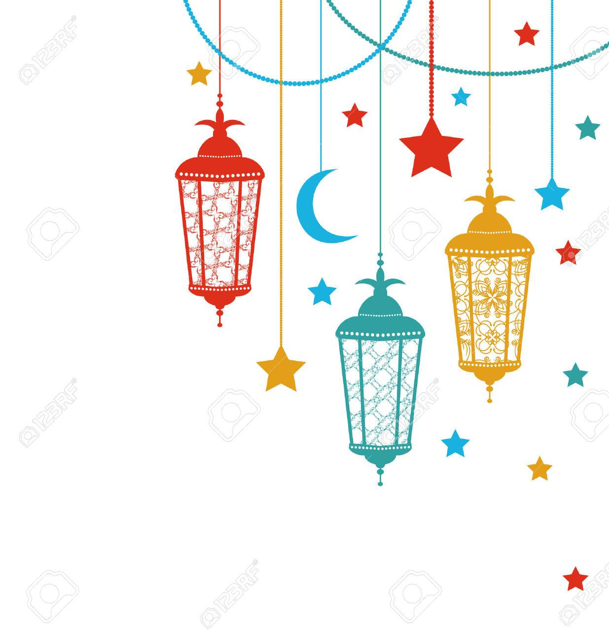 Illustration Ramadan Kareem Background with Lamps (Fanoos), Crescents...