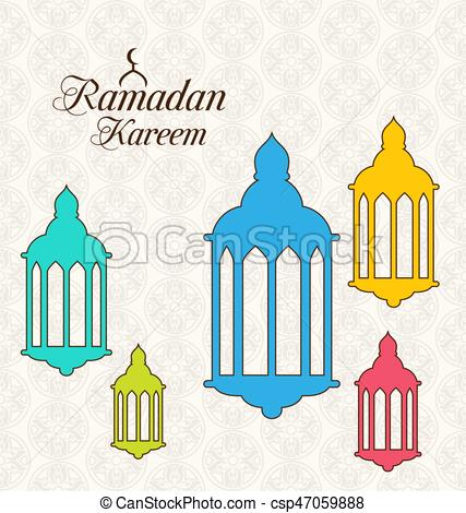 Arabic Card for Ramadan Kareem with Colorful Lamps (Fanoos).