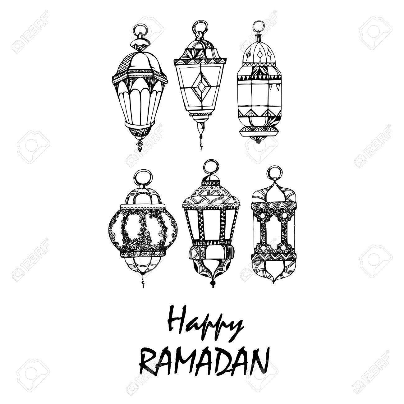 Illustration Ramadan Kareem Background with Lamps Fanoos , Crescents...