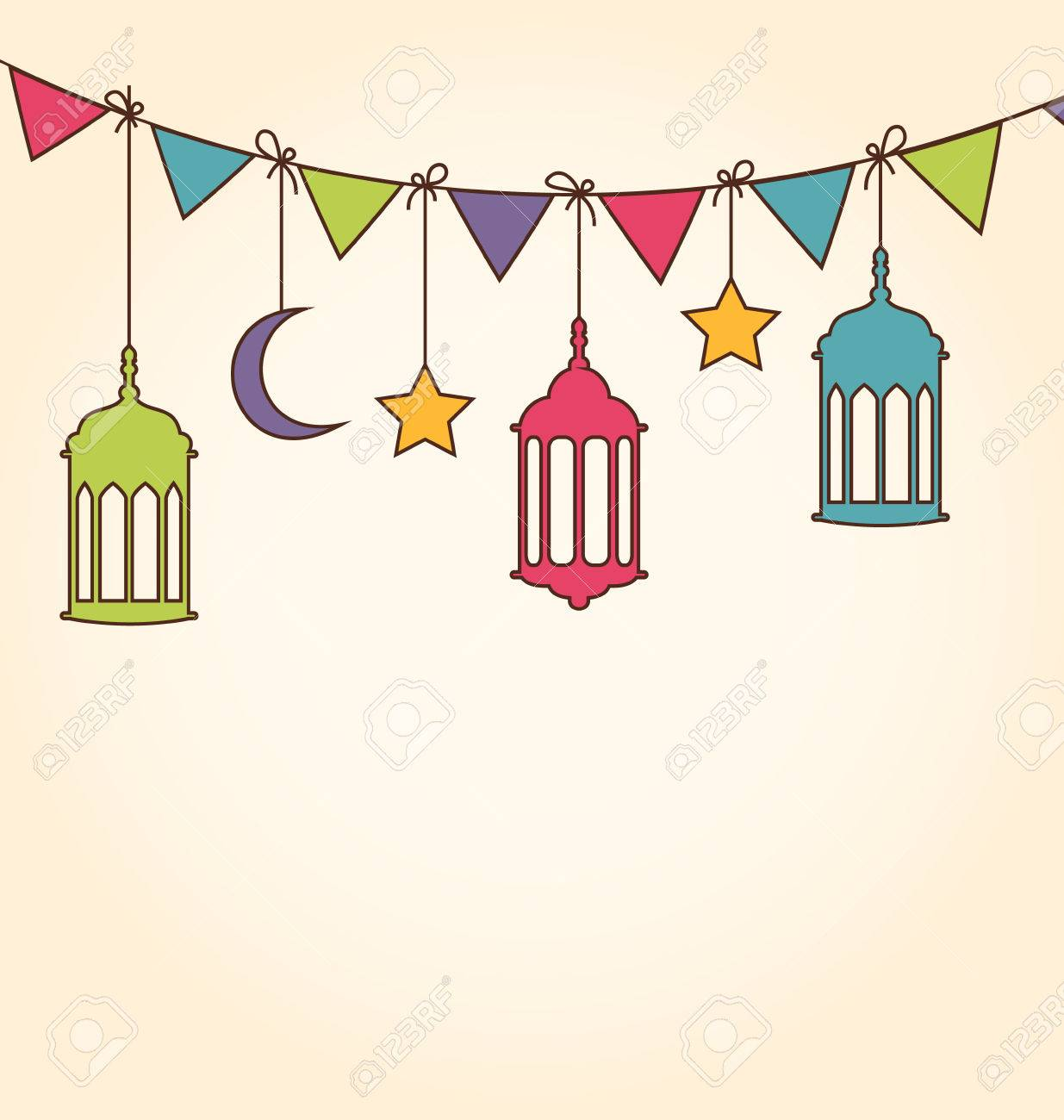 Illustration Background for Ramadan Kareem with Colorful Hanging...