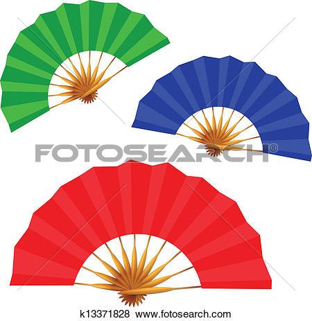 Clip Art of set of folding fans k13371828.
