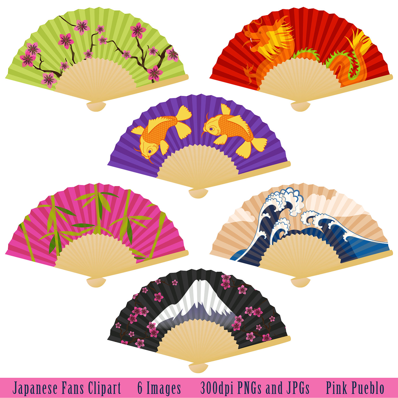 Japanese fans clipart.