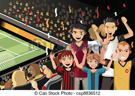 Vector Clip Art of Sports fans in a stadium.