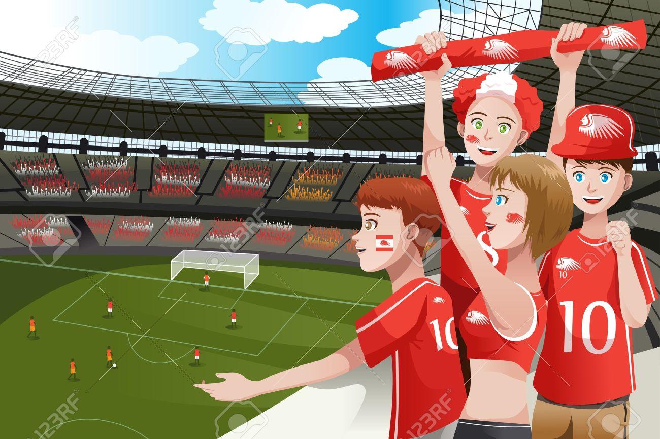 A Vector Illustration Of Soccer Fans Cheering Inside The Stadium.