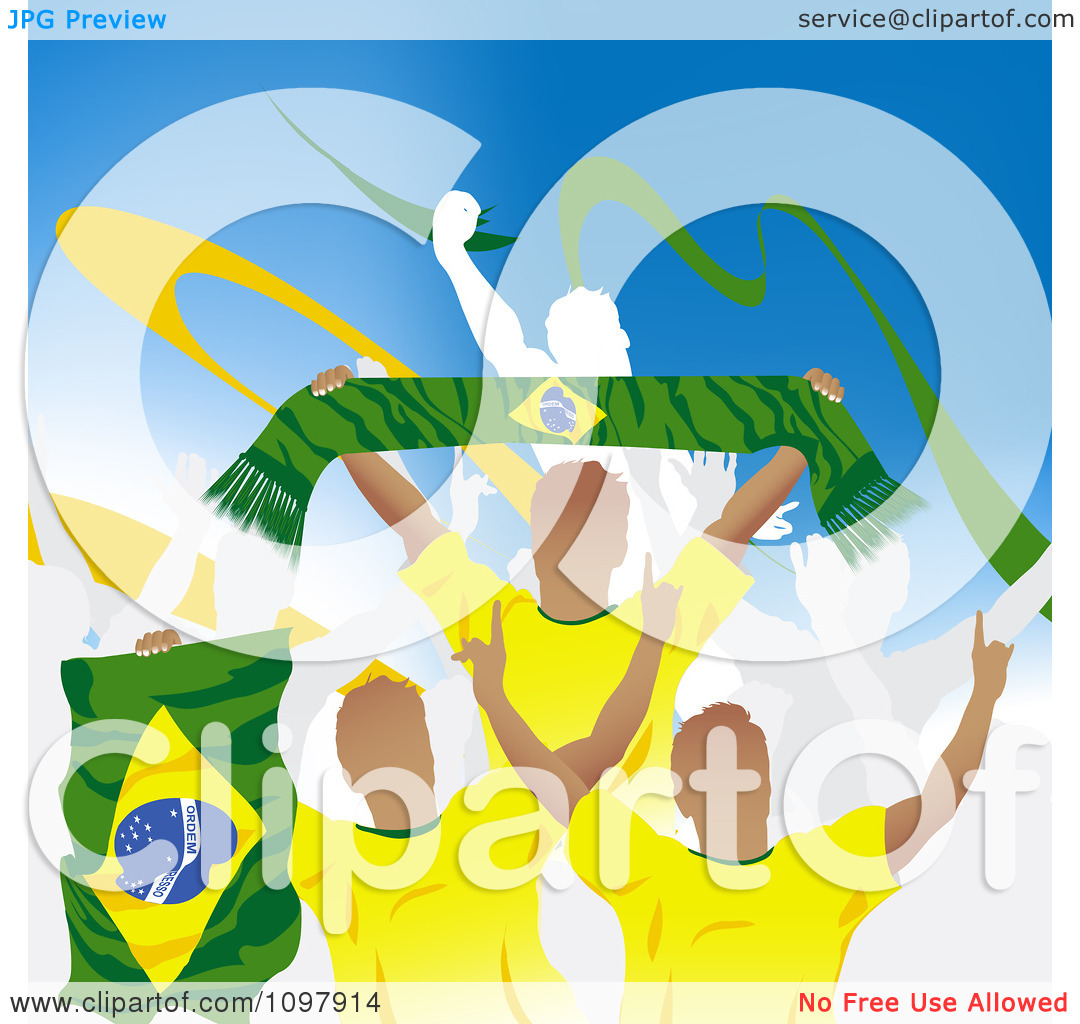 Clipart Crowd Of Cheering Brazilian Soccer Fans With Flags And.