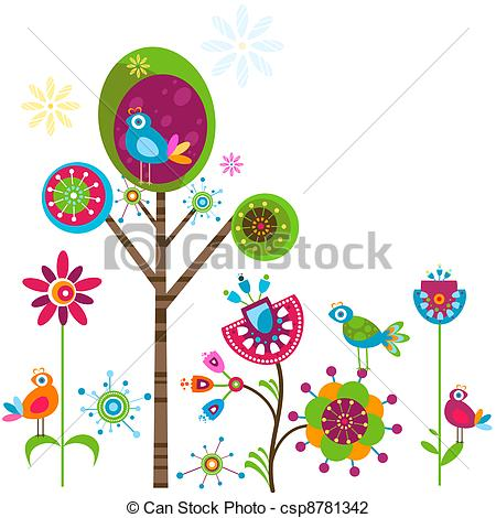 Free whimsical flower clip art.
