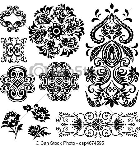 Vecteur Clipart de tourbillon, floral, conception, fantaisie.