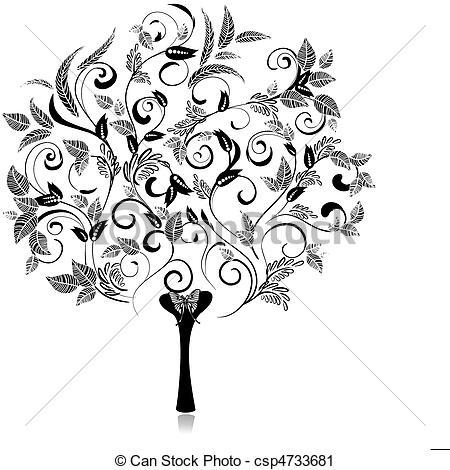 Clip Art Vecteur de résumé, arbre, Romantique, fantaisie.