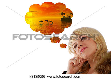 Stock Images of girl fantasize about a vacation k3135056.