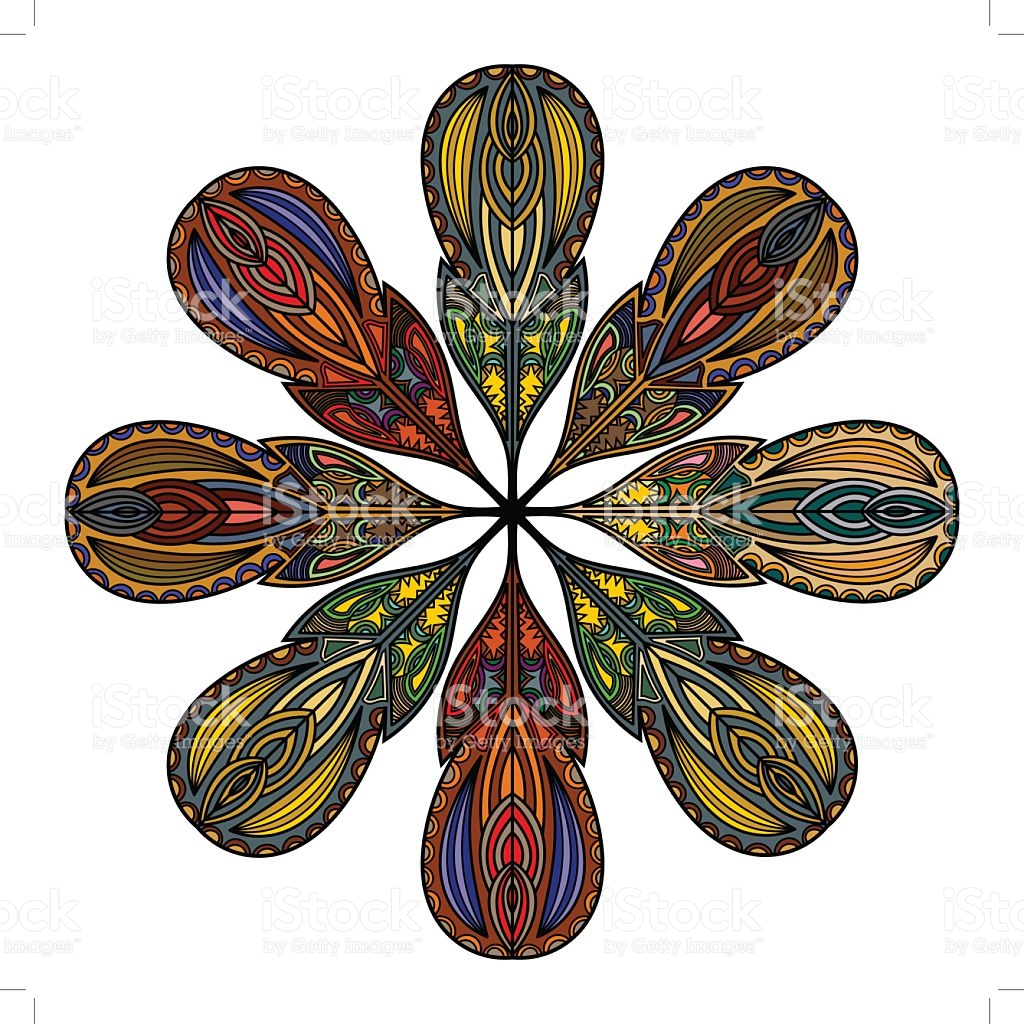 Mandala Of The Fantastic Feathers stock vector art 521907577.
