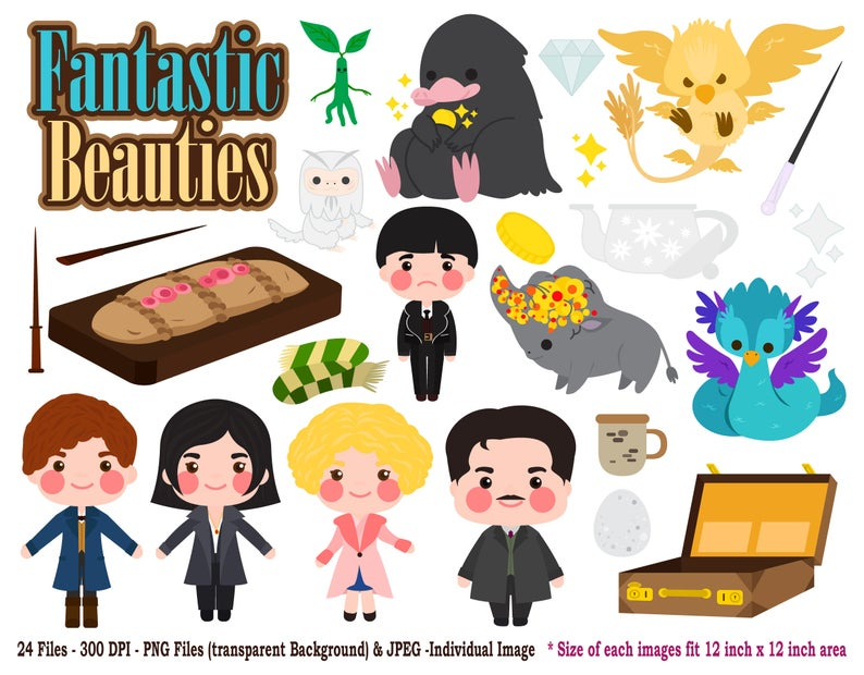 Digital Cute Fantastic Beauties, Fantastic Beast Theme Clipart Set, in Jpeg  and Png for Scrapbook Album, Greetings Card and Stickers Planner.