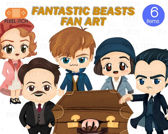 Fantastic Beast Fan Clipart Illustration.