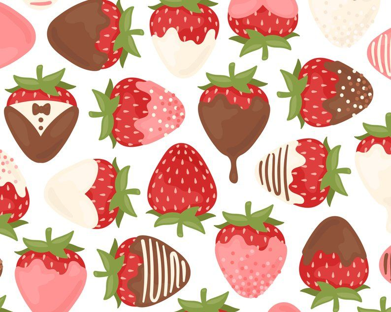Chocolate Covered Strawberry Clipart, Valentine Clipart.