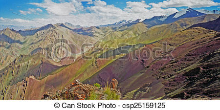 Clip Art of colorful mountains and fantastically shaped rock.