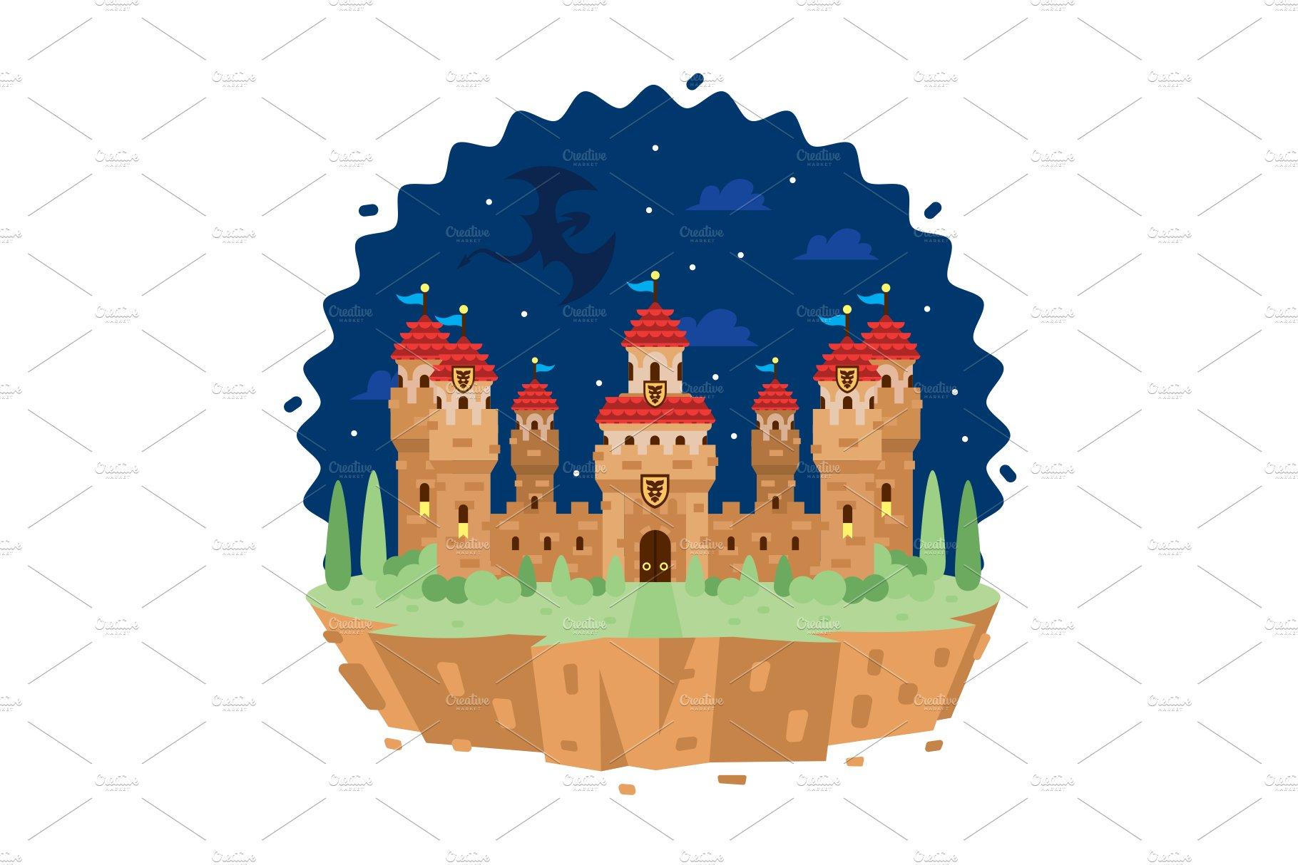 Fantasy Castle Building Clipart.