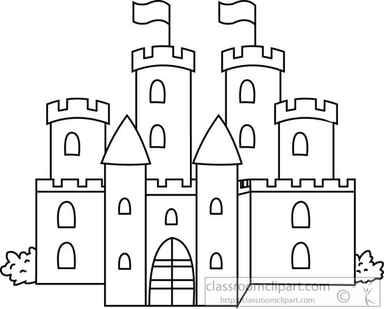 Black And White Castle Clipart.