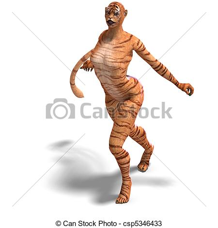 Clipart of Female Fantasy Figure Tiger. 3D rendering and shadow.
