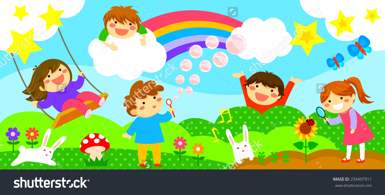 Wide Horizontal Strip Happy Kids Playing Stock Vector 234407911.