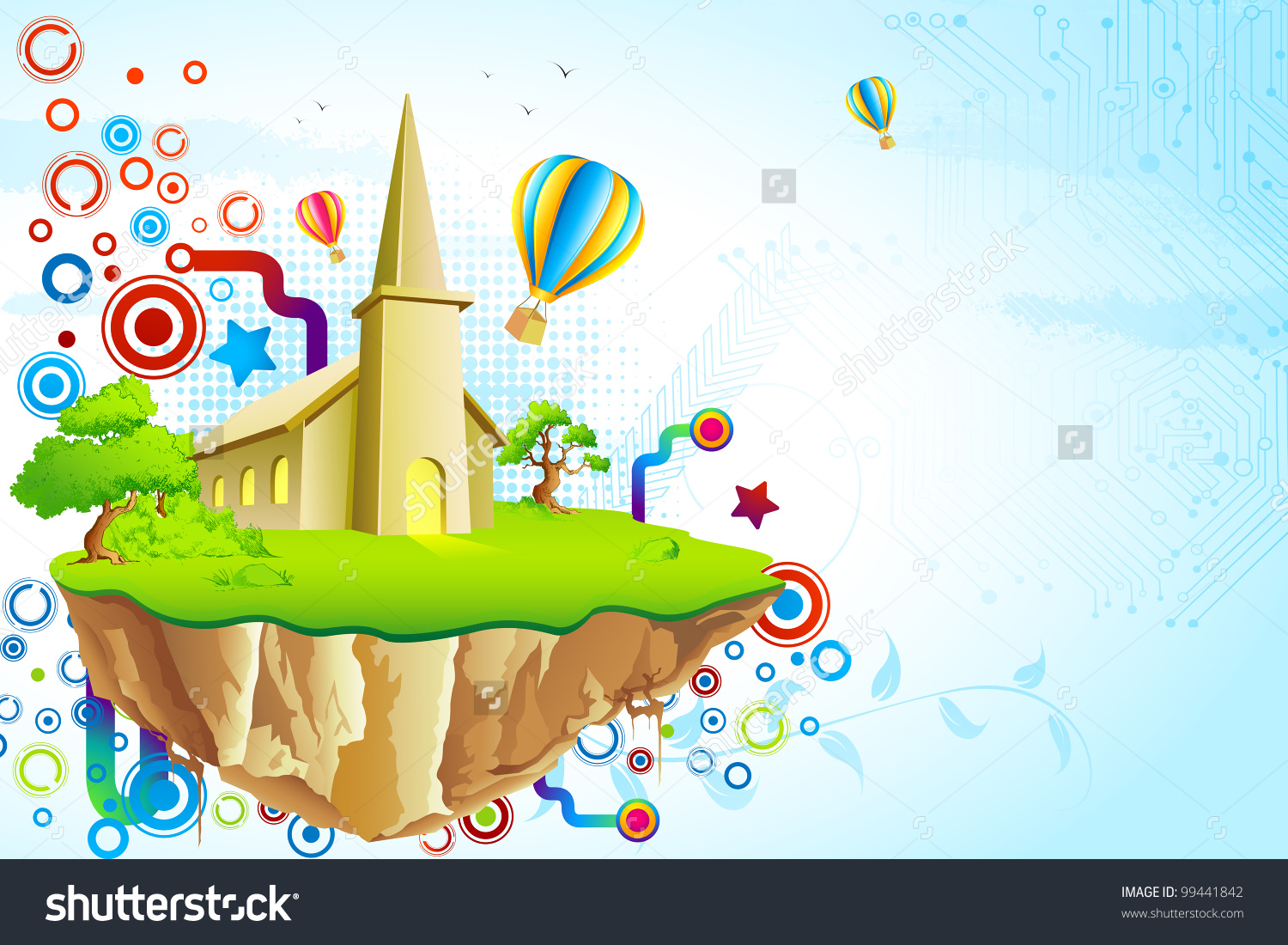 Illustration Fantasy Land House Surrounded By Stock Vector.