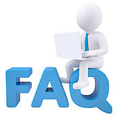 Clip Art of 3d white man with laptop sitting on the word FAQ.