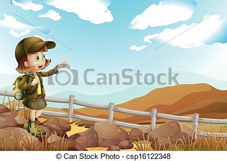 Boy pointing far clipart.