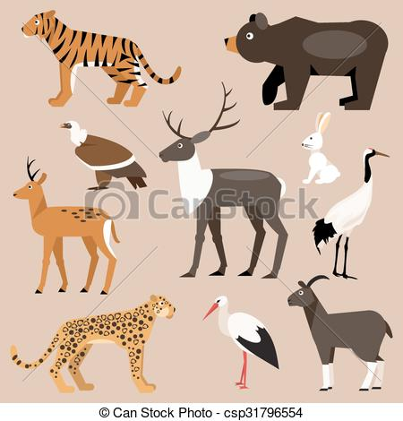 Clipart Vector of Set of animal Far East. Vector Illustration.