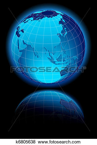 Clip Art of WORLD China, India, Far East Russia k6805638.