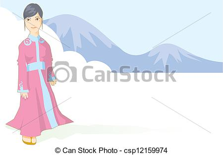 Stock Illustrations of Far eastern lady in a traditional dress.