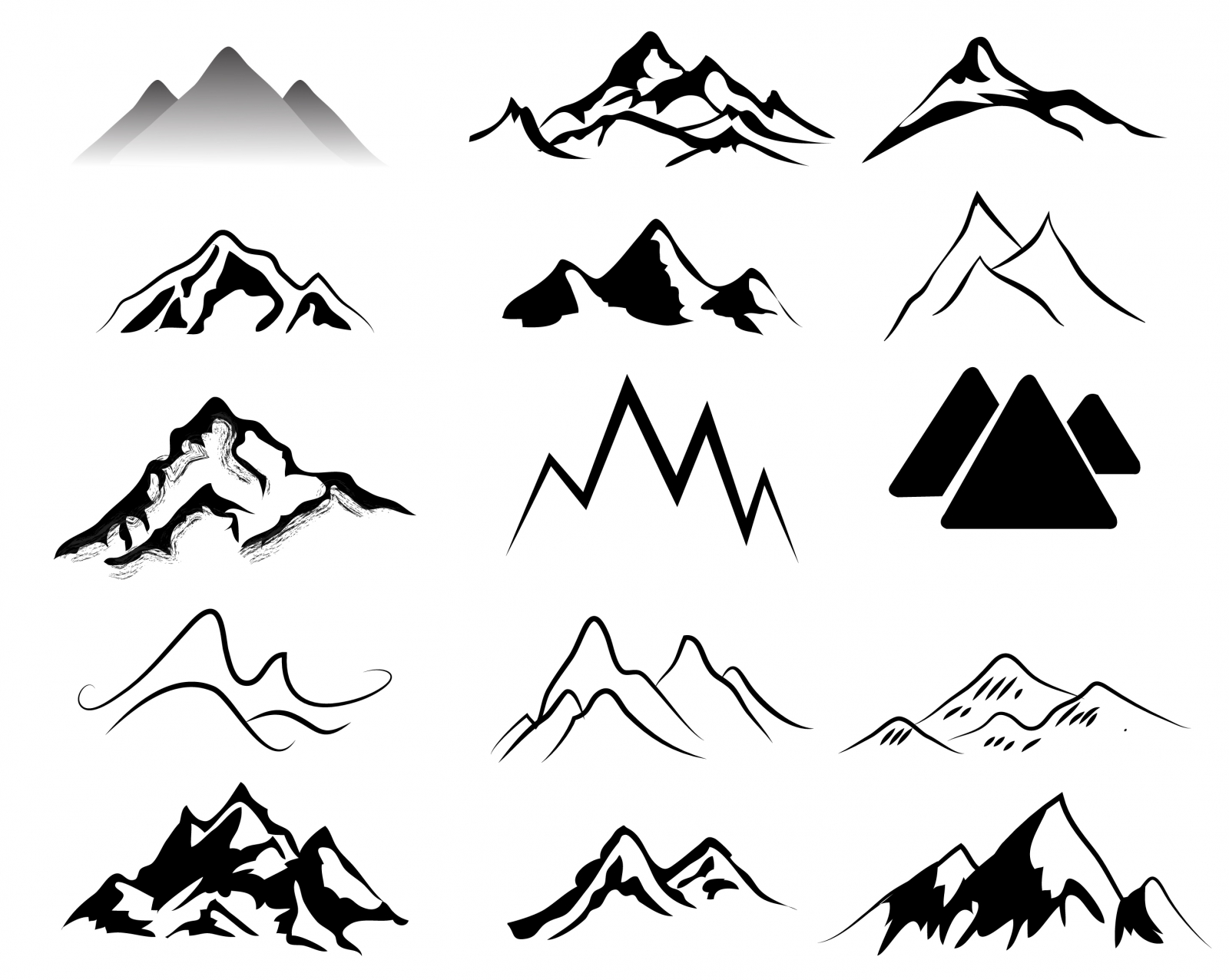 Mountain Shapes For Logos Vol 5.