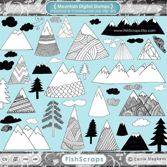 Hand Drawn Mountain Clip Art, Nature Outdoor Adventure Digital.