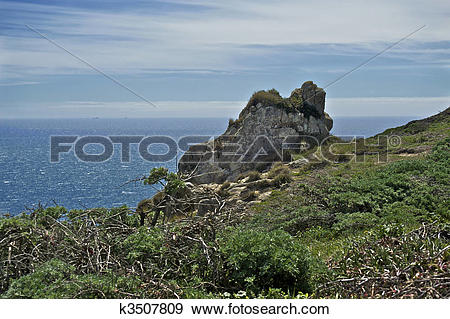 Stock Photograph of The Farallon Islands are mere specks on the.