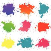 Clip Art of Color paint splashes k9162969.