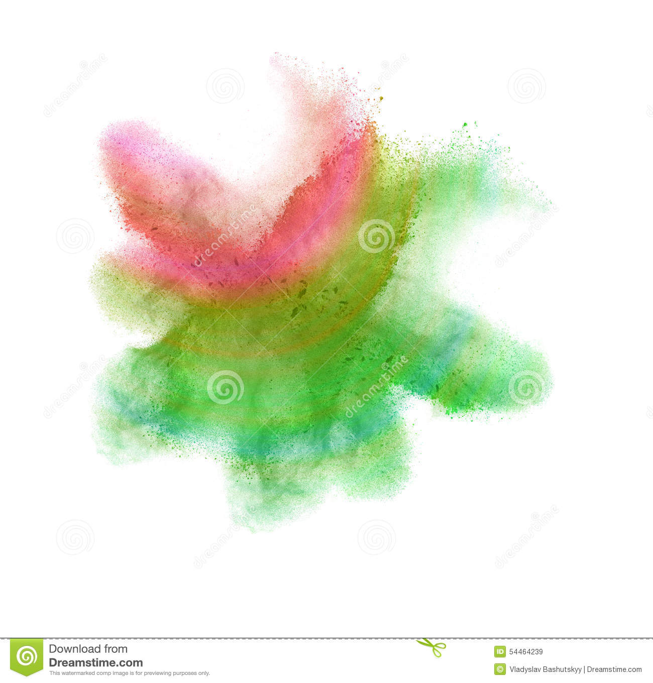 Colored Powder Isolated On Black Background Stock Photo.