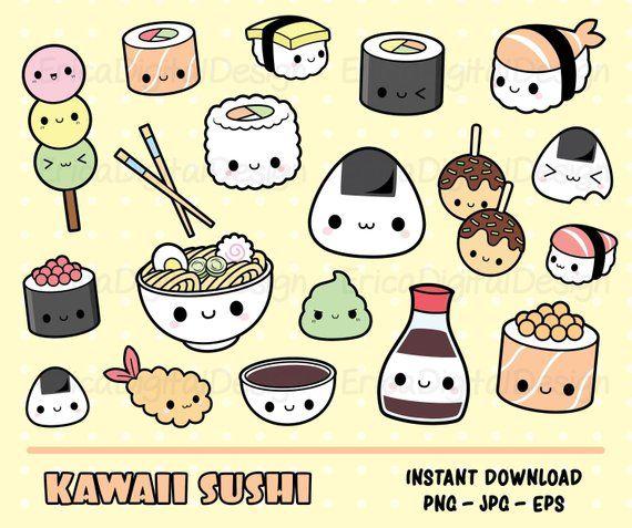 Sushi kawaii clipart impostare sushi carina clipart Kawaii.