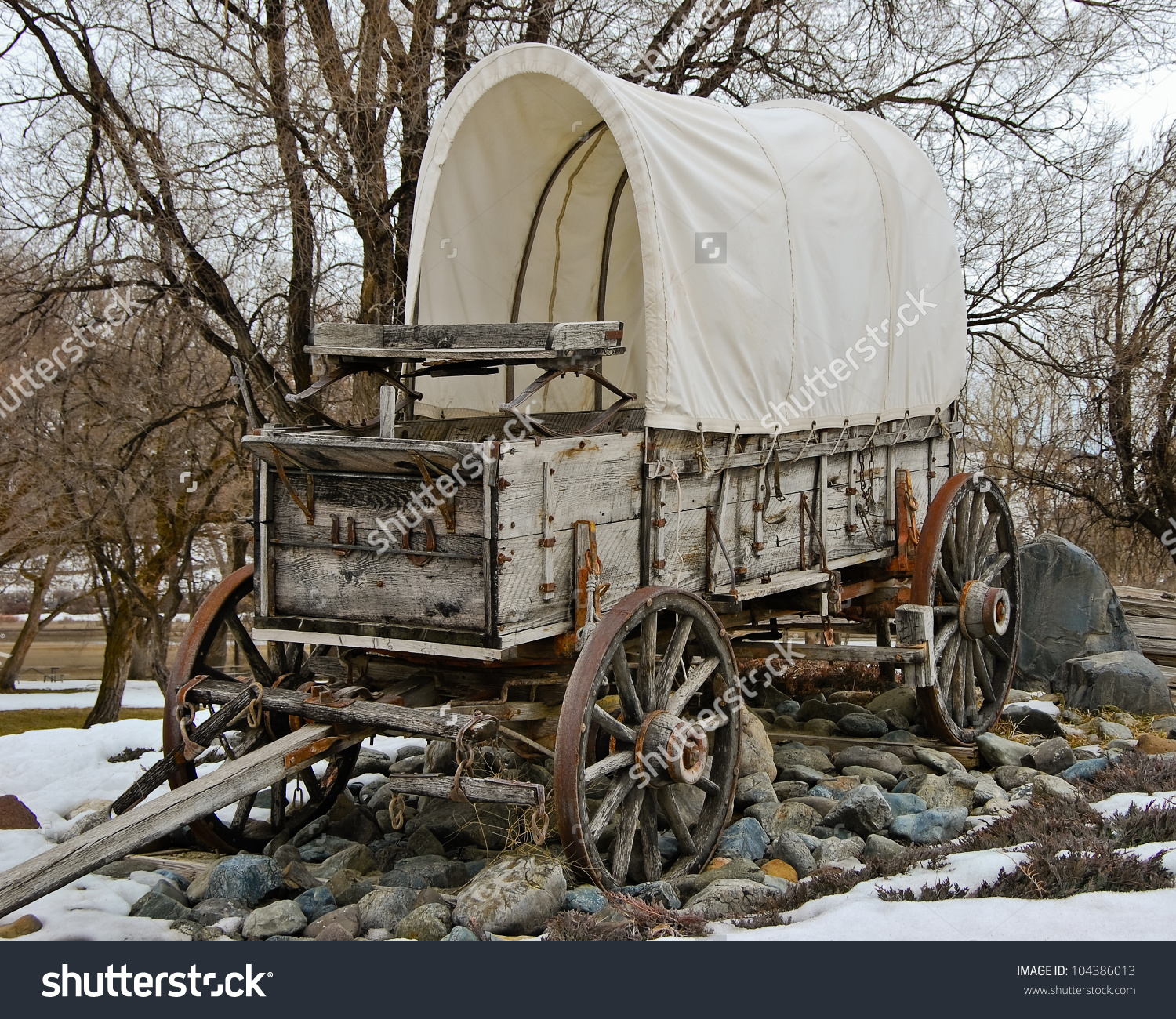 Covered Wagon At Farewell Bend State Park On The Snake River In.