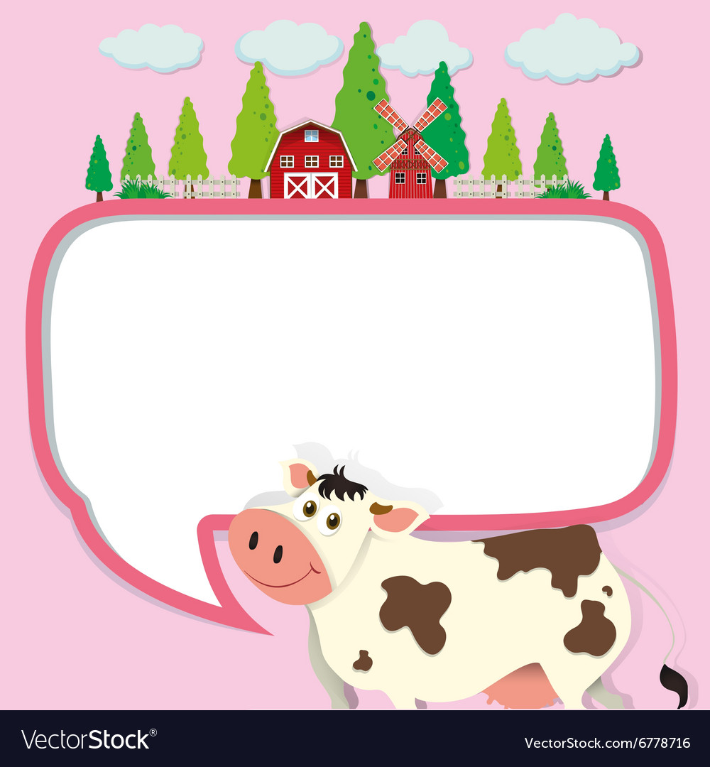 Border design with cow and farm.