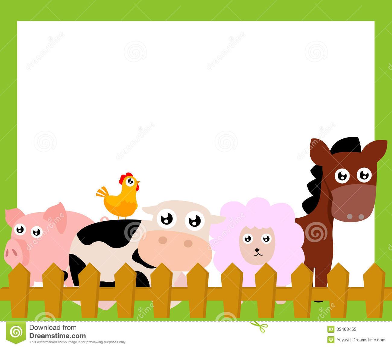 Farm Animals Clipart Border.