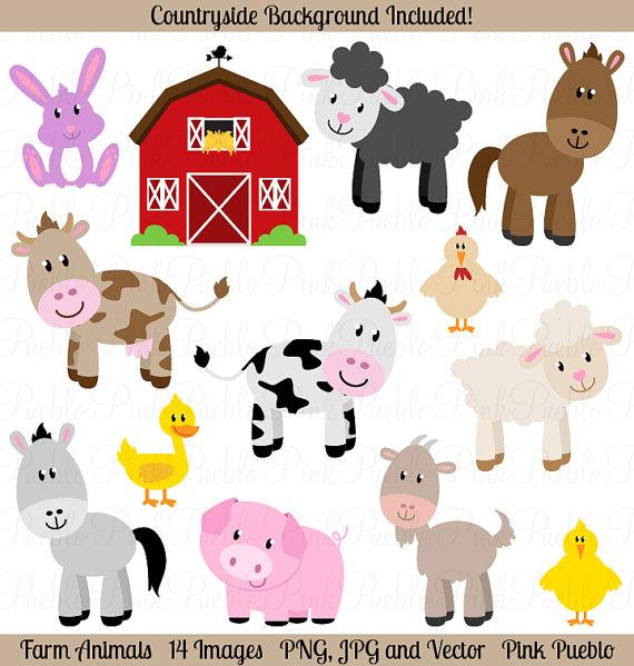 Cute Farm Animals Clipart.