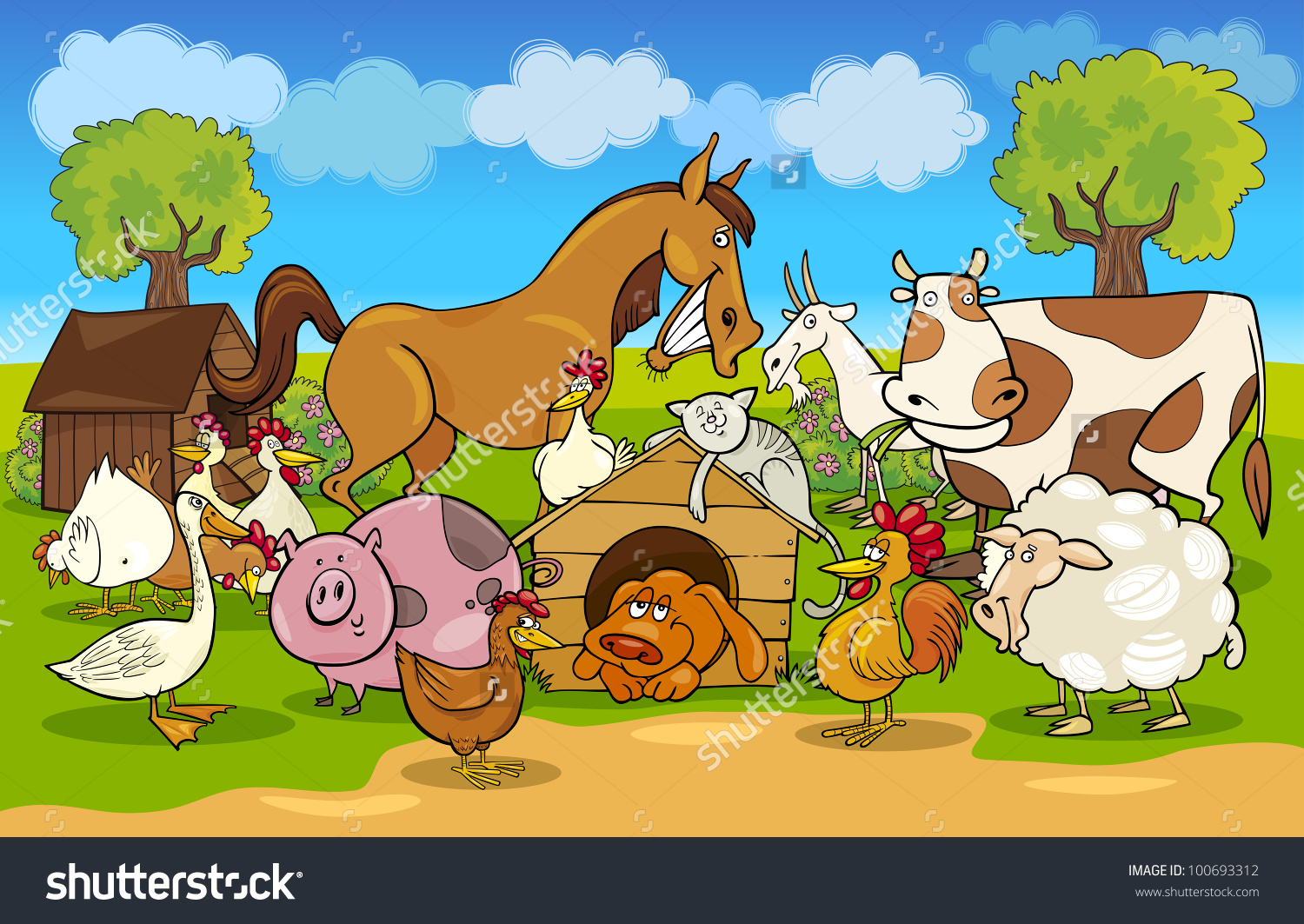Cartoon Illustration Rural Scene Farm Animals Stock Vector.