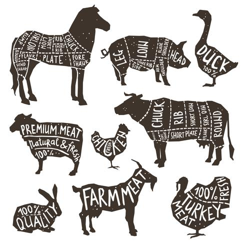 Farm Animals Silhouette Typographics.