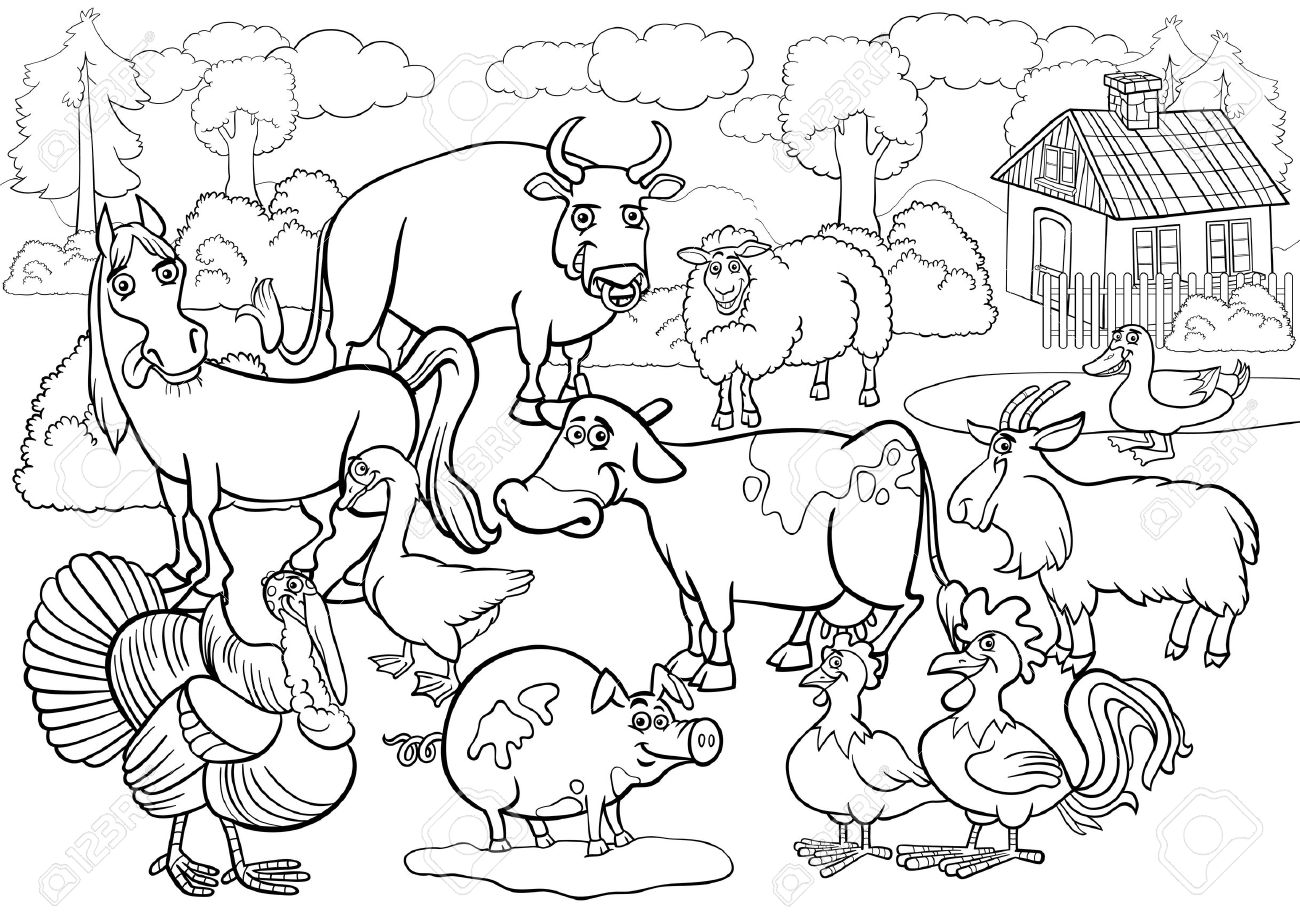 Black and White Cartoon Illustration of Country Scene with Farm...