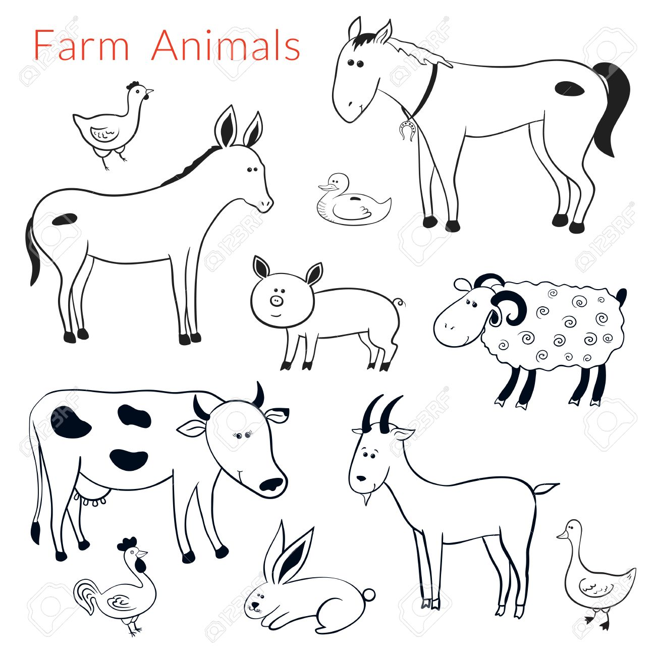 Set of vector different farm animals in cartoon style, black.