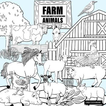 Farm Animals Black and White Line Art Illustrations.