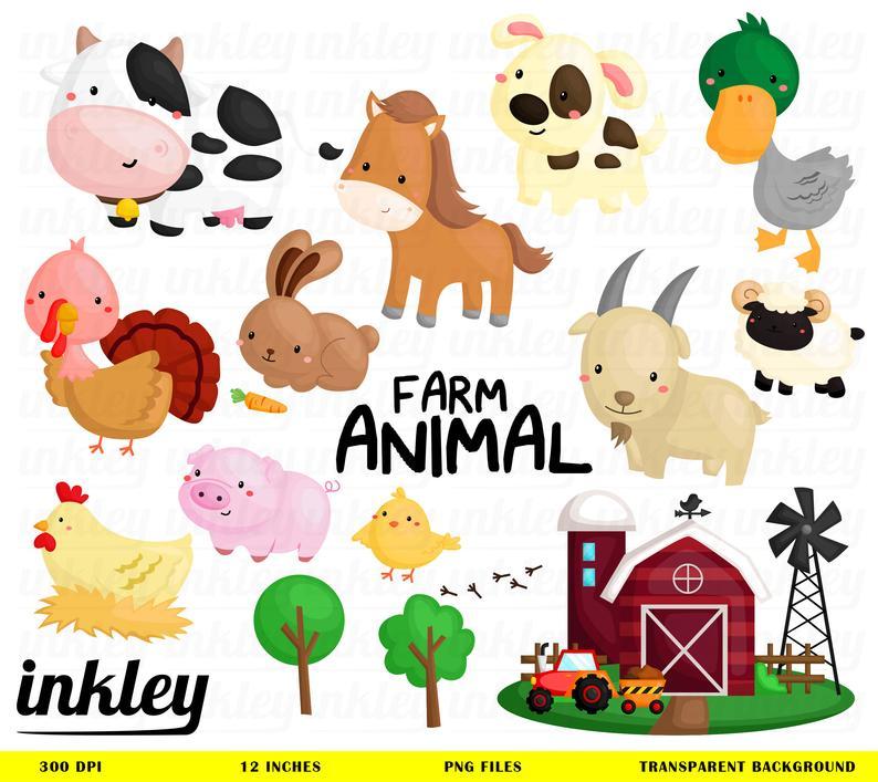 Farm Animal Clipart, Farm Animal Clip Art, Farm Animal Png, Cute Animal  Clipart, Chicken Clipart, Barn Clipart, Goat Clipart, Turkey Clipart.