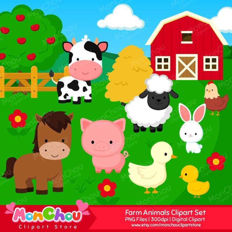 Farm Animals Clipart Set.