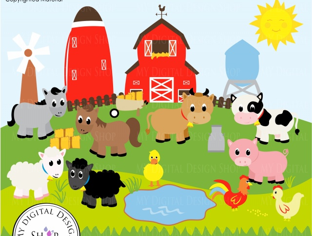 Old MacDonald, Farm Animals, Vector Clipart Image, Scrapbooking Farm, Barn,  Windmill, Cows, Sheep, Duck, Rooster, Hen, Baby Animals, PNG/EPS.