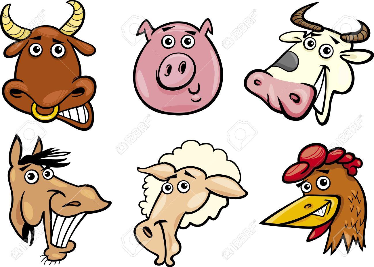Cartoon farm animals clipart.