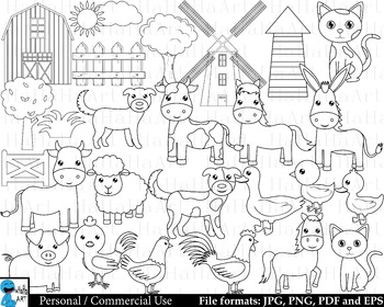 Outline Farm Animals Digital Clip Art Personal Commercial Use 27 images  cod223.