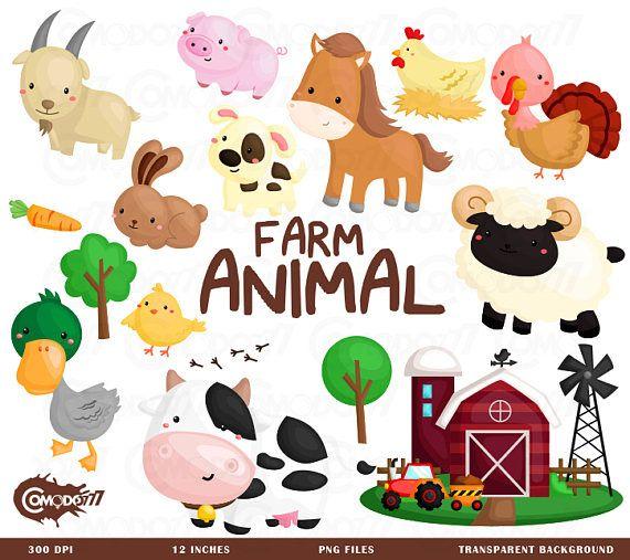 Farm Animal Clipart, Farm Animal Clip Art, Farm Animal Png, Cute.