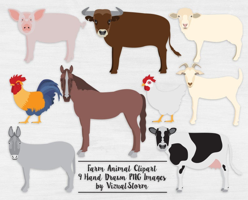 Farm Animal Clipart Png Barn Animals Cow Bull Rooster Chicken Horse Pig  Sheep Goat Digital Barnyard Scrapbooking Clip Art.